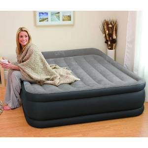 Надувная кровать INTEX 64136 Deluxe Pillow Rest Raised Bed 152х203х42см, встроенный насос 220V